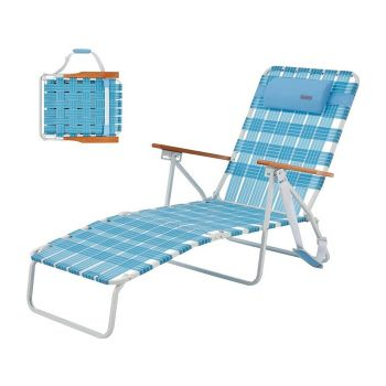 WEJOY Foldable Bed Beach Bed PP Bed Camping 5-step adjustment Sunscreen Lounge Chair