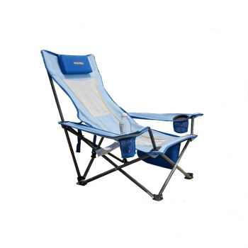 WEJOY Folding Beach Lounge Chair with Pillow Cup Holder Pocket Mesh Back for Outdoor Garden Patio Lawn Camping Hiking Backpacking